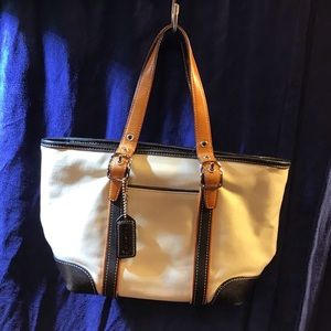 Coach small leather & canvas tote, EUC, black, tan